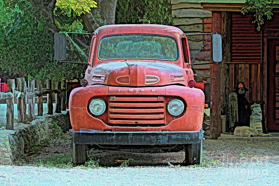 Ford Photograph - My Old Ford Truck - Color Sketch by Chris Mautz
