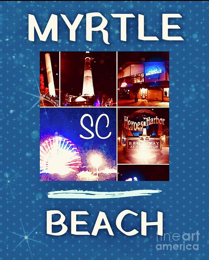 Myrtle Beach Digital Art - Myrtle Beach Night Lights in South Carolina by Karen Francis