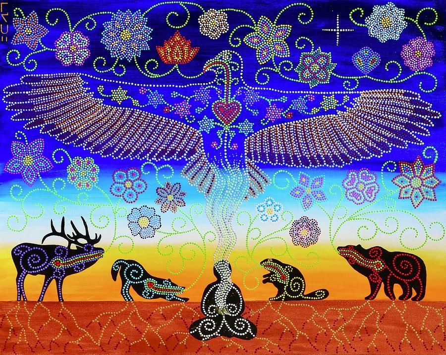 Indigenous Painting - Nanaskomowin Gratitude by Karlee Fellner