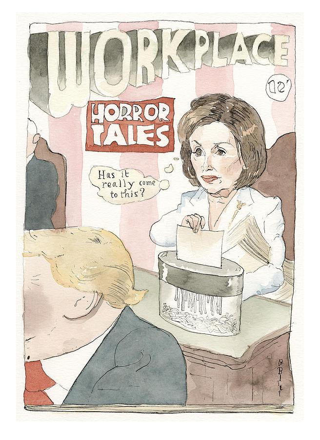 Nancy Pelosi, Shredding It Painting by Barry Blitt