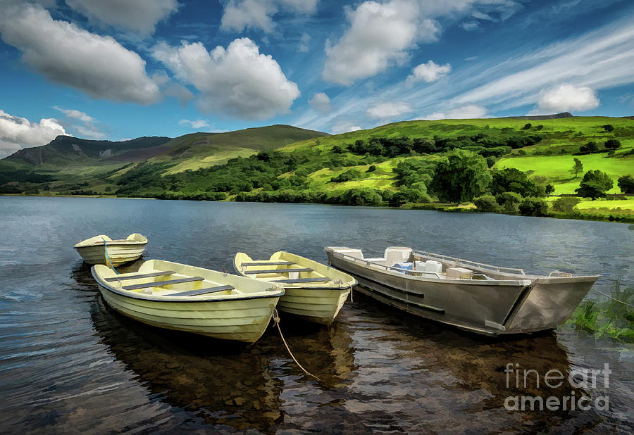 Nantlle Uchaf Boats Wales by Adrian Evans