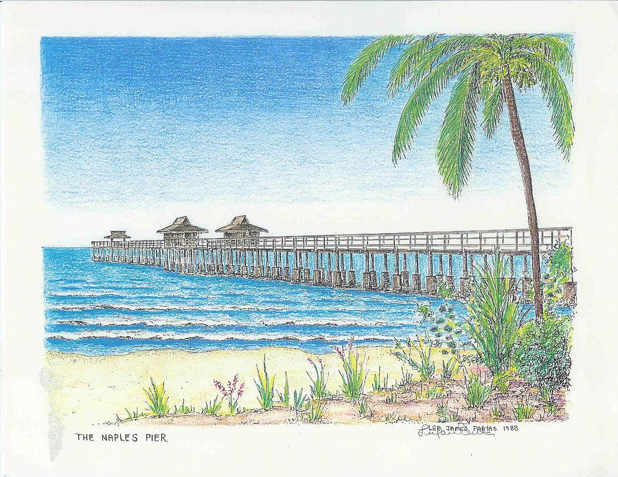 Naples Florida Drawing - Naples Pier, Naples Florida by Lee Pantas