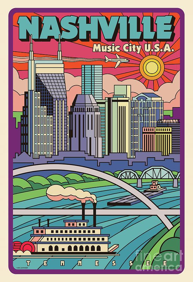 Nashville Digital Art - Nashville Poster - Vintage Pop Art Style by Jim Zahniser