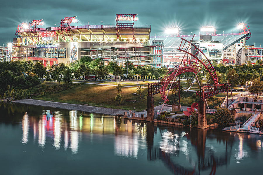 Nashville Tennessee Football Stadium on the Cumberland River by Gregory Ballos