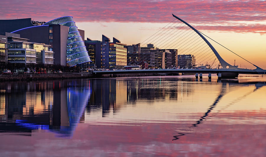 Dublin Photograph - National Conference Centre and Samuel Beckett Bridge at Dawn - Dublin by Barry O Carroll