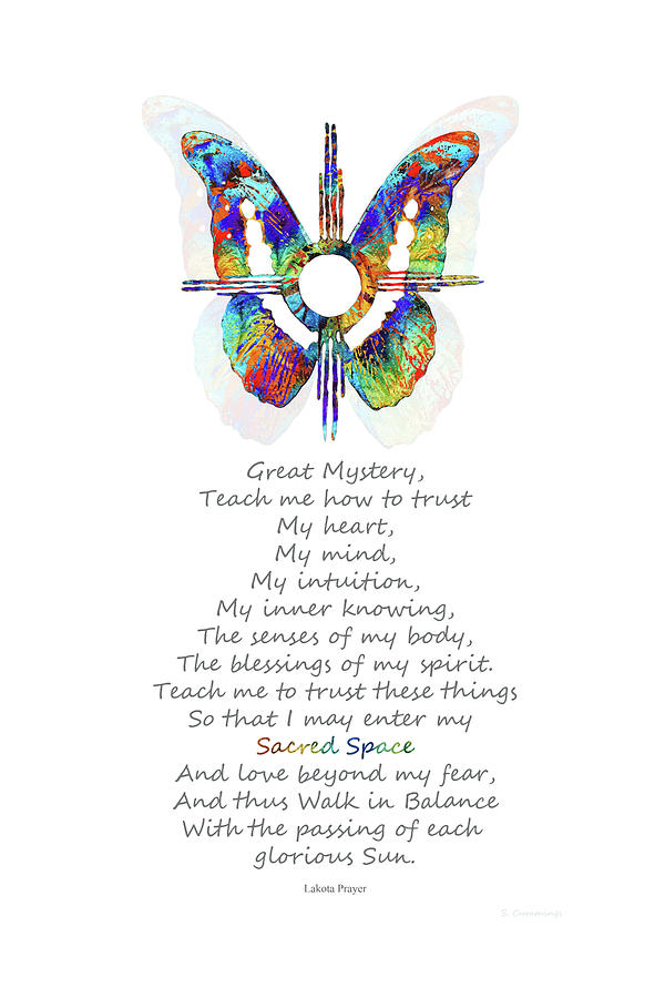 Butterfly Painting - Native American Healing Prayer - Sun Symbol - Sharon Cummings by Sharon Cummings