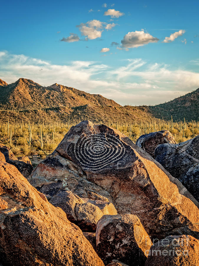 Native American Indian Petroglyph in Saguaro National Park, Arizona by Bryan Mullennix