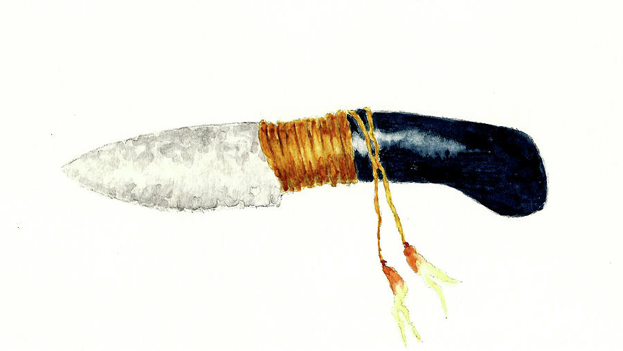 Native American Stone Knife Painting