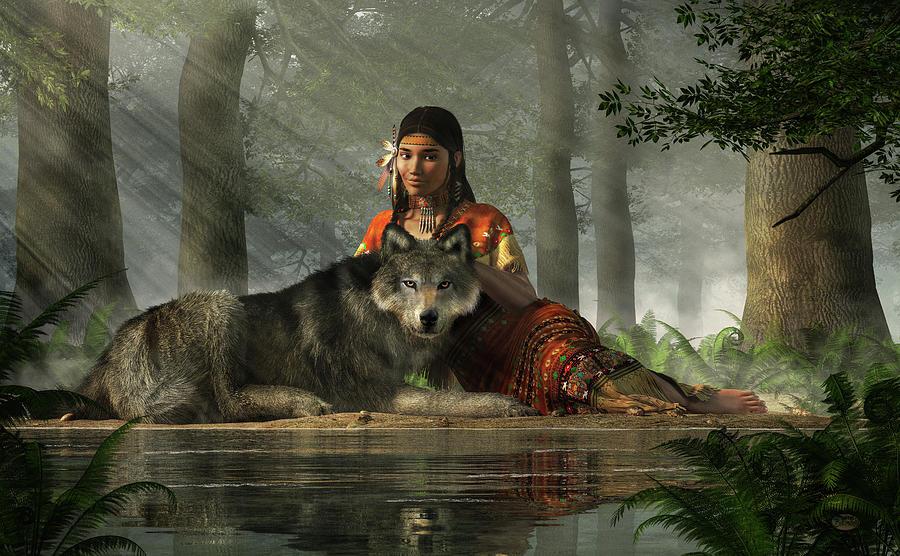 Native American Woman And Wolf Digital Art