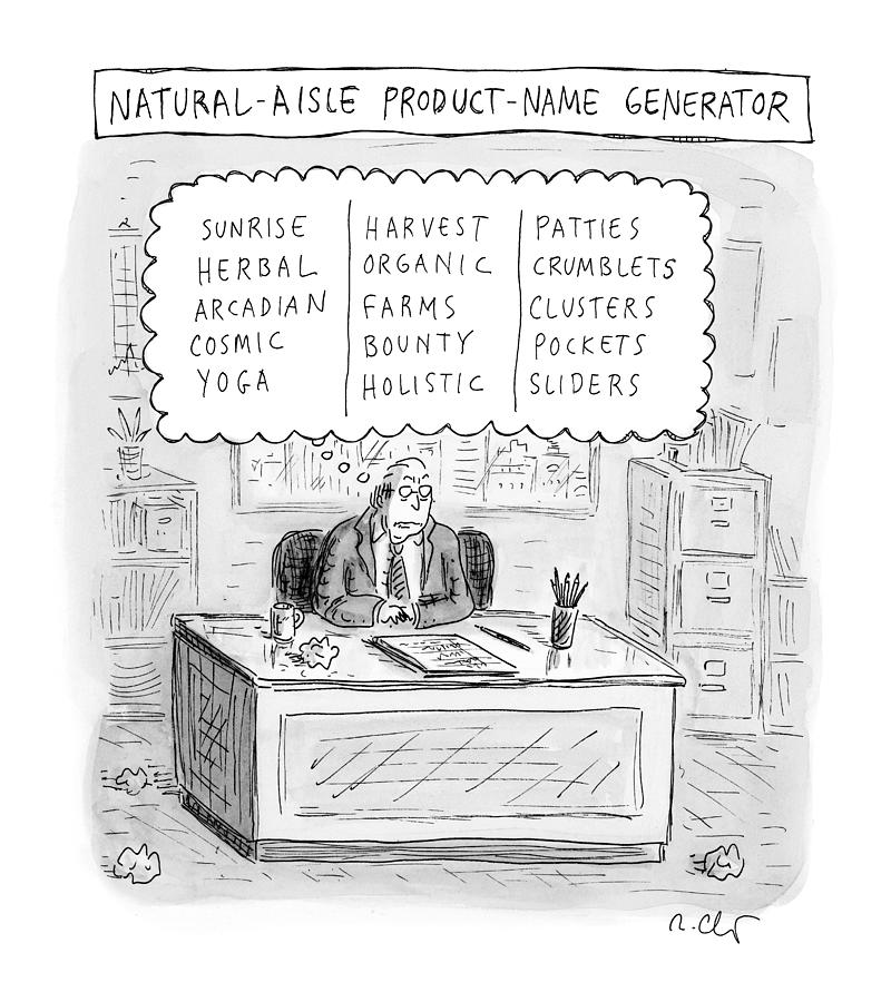 Natural Aisle Product Name Generator Drawing by Roz Chast