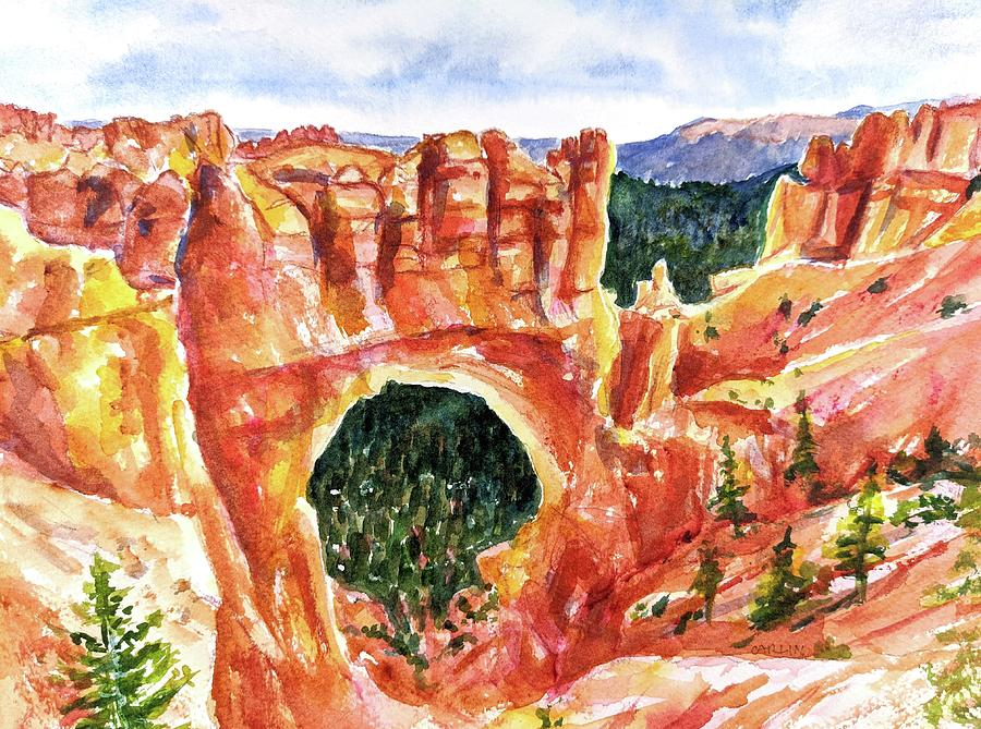 Utah Painting - Natural Bridge Bryce Canyon Utah by Carlin Blahnik CarlinArtWatercolor