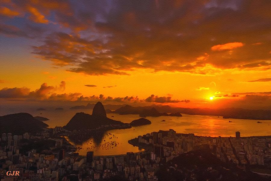 Nature As Artist - Magnificent Sunset Over A Port City.......l A S Digital Art