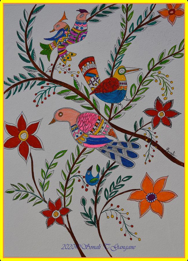 Nature In Madhubani Art Style Painting