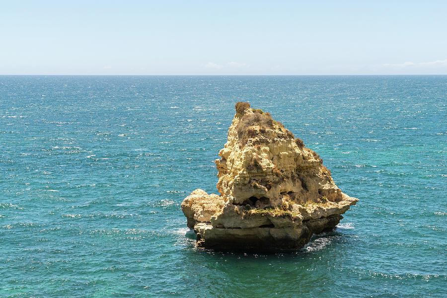 Nature Sculpted Sailboat - Evocative Seastack Off The Coast Of Carvoeiro Algarve Portugal Photograph