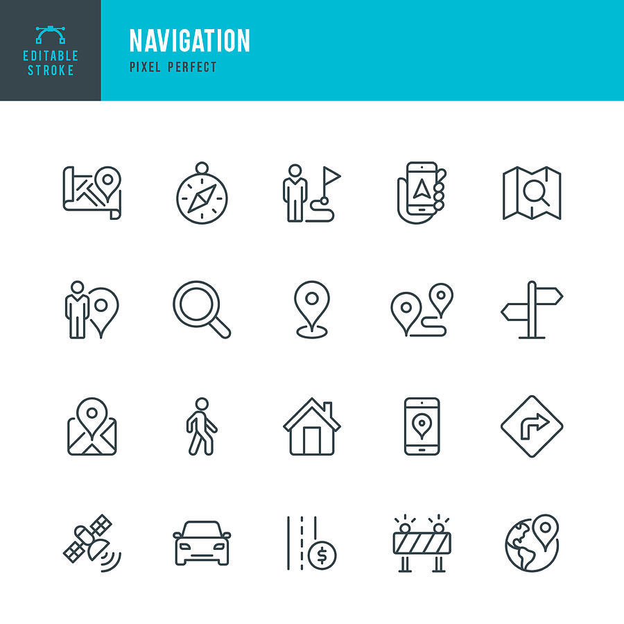 Navigation - thin line vector icon set. Pixel perfect. Editable stroke. The set contains icons: GPS, Navigational Compass, Distance Marker, Car, Walking, Mobile Phone, Map, Road Sign. Drawing by Fonikum