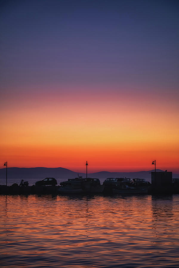 Naxos Town Sunset Silhouette Photograph