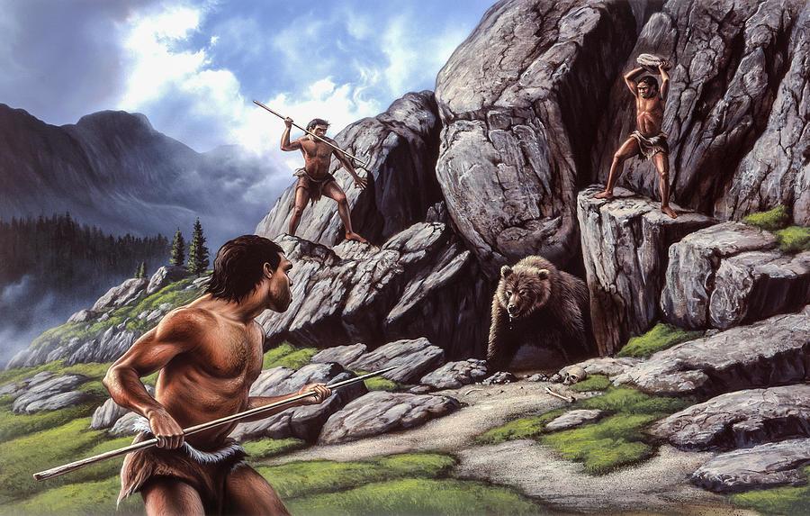Pleistocene Painting - Neanderthal Hunt  by Jerry LoFaro