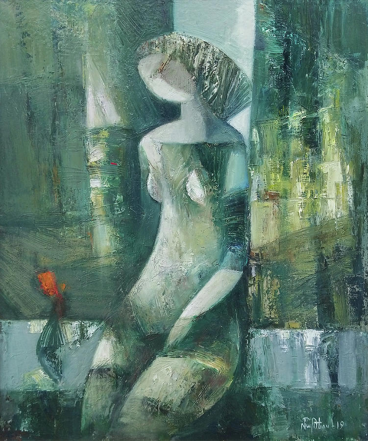 Abstract Painting - Near The Curtain by Mateos Sargsyan
