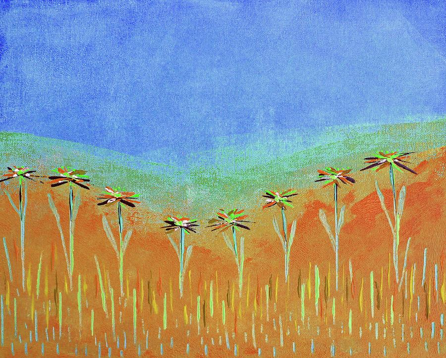 Flower Painting - Nearby Flowers in Orange by Corinne Carroll