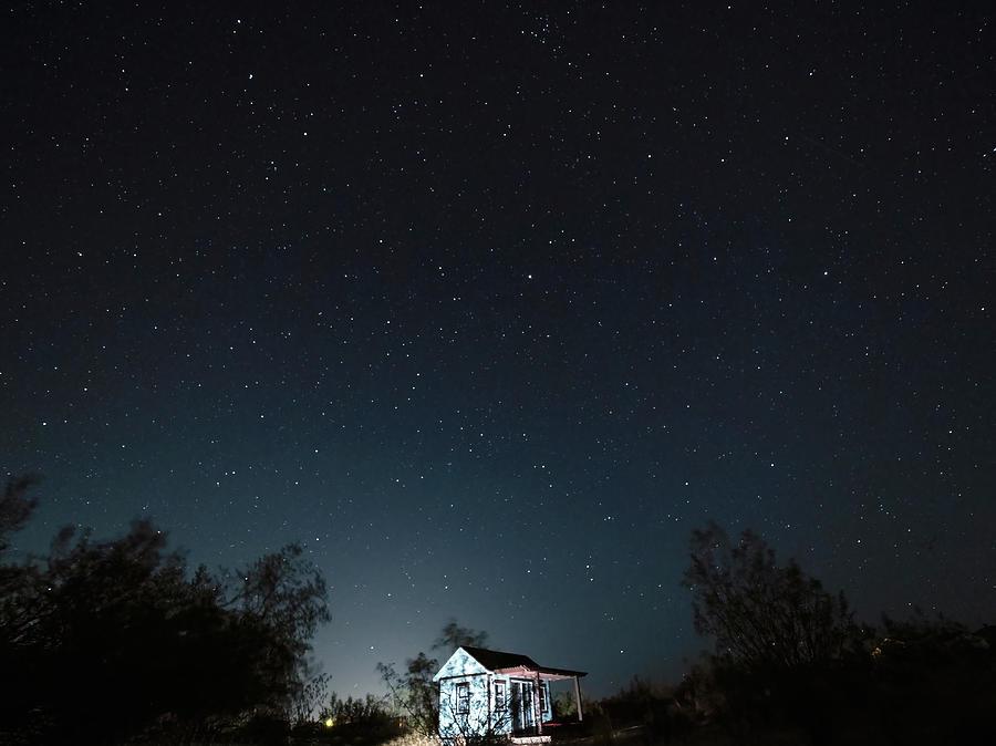 Moon Photograph - New Moon Wee House by Joe Schofield