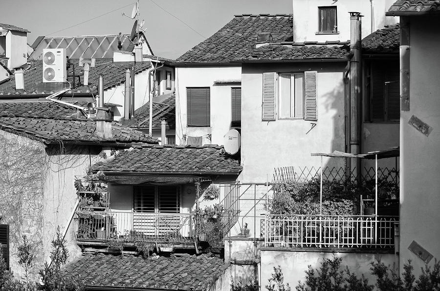 Neighborhood Scene of Tile Rooftops and Balconies Florence Italy Black and White by Shawn O'Brien