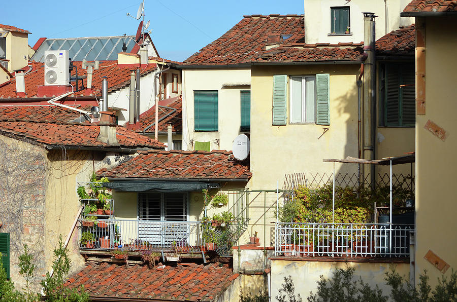 Neighborhood Scene of Tile Rooftops and Balconies Florence Italy by Shawn O'Brien