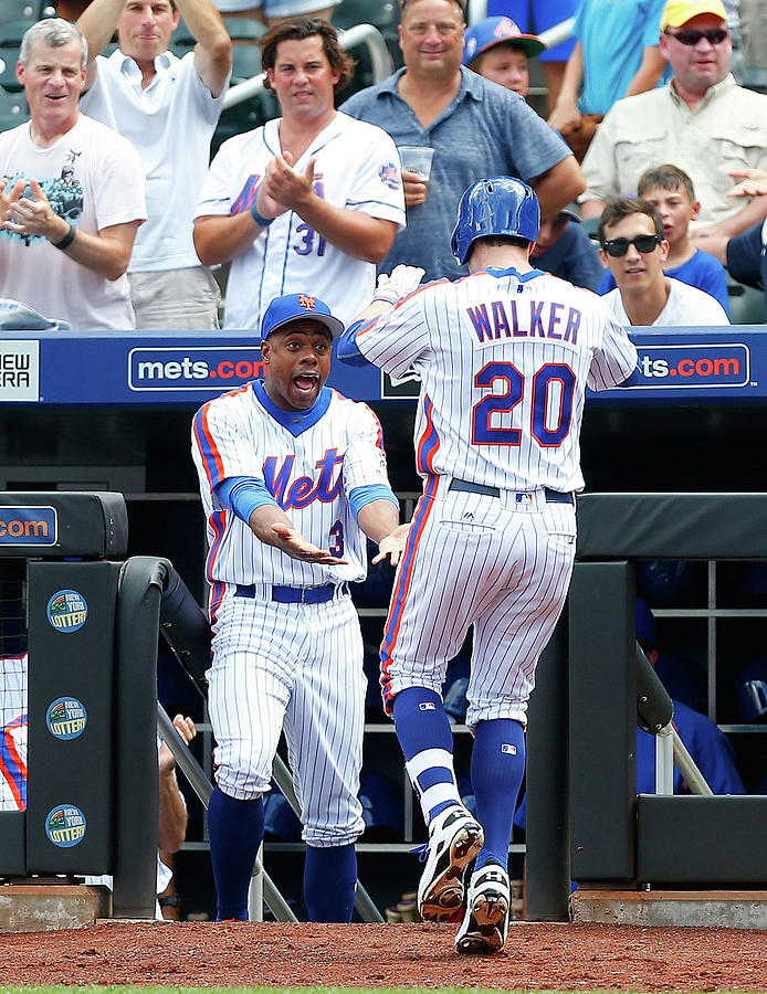 Neil Walker And Curtis Granderson Photograph by Jim Mcisaac