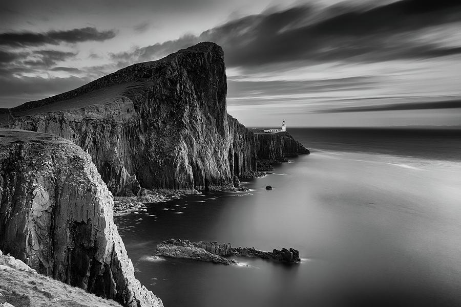 Neist Point Photograph - Neist Point BandW Sunset by Grant Glendinning