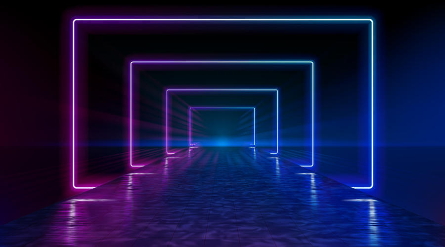 Neon corridor stretching to the horizon, clear night sky without clouds, reflection of light on the wet surface of the road. The road to the horizon. Futuristic portals. Vector. Drawing by -Vitan-