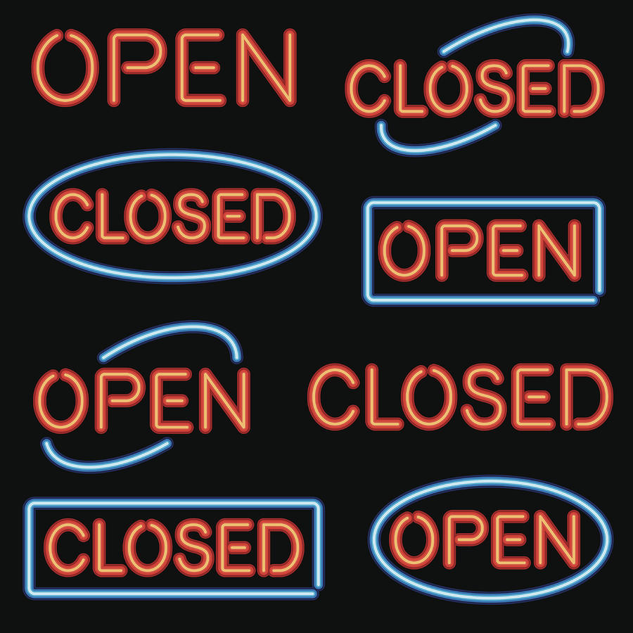 Neon Open and Closed Sign Set Drawing by Bortonia
