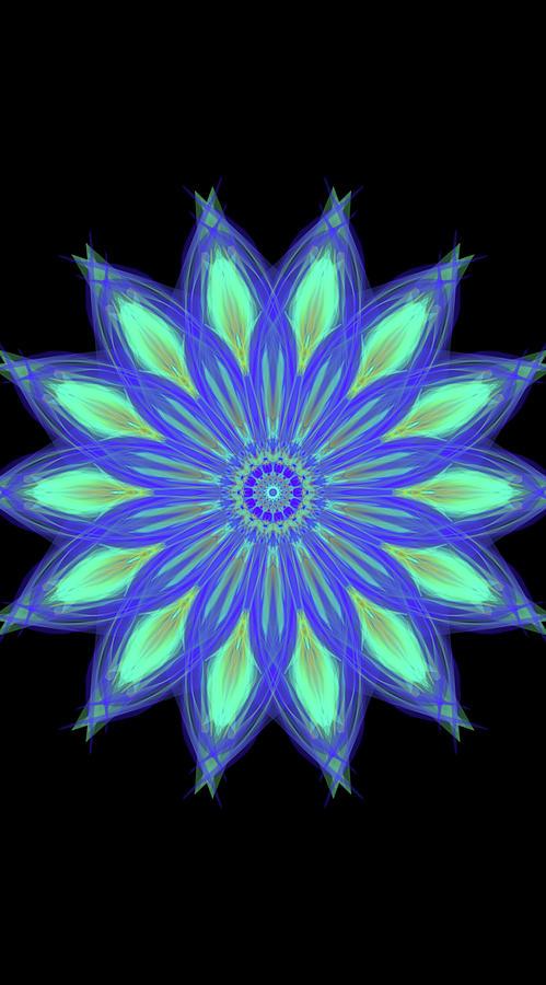 Neon Star Mandala Digital Art