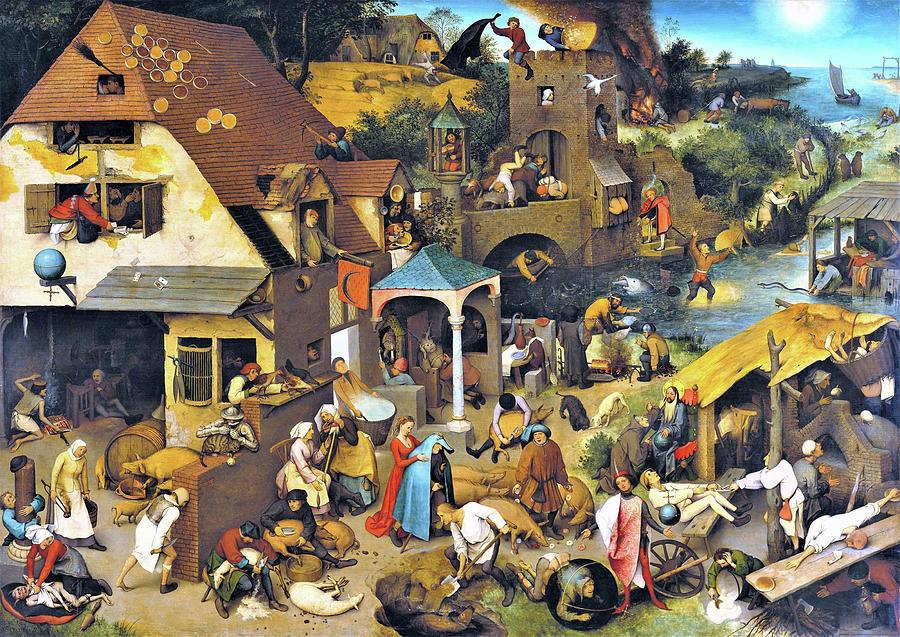Netherlandish Proverbs Painting - Netherlandish Proverbs - Digital Remastered Edition by Pieter Bruegel
