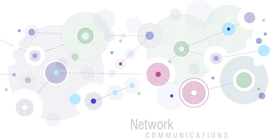 Network Blue Drawing by Amtitus
