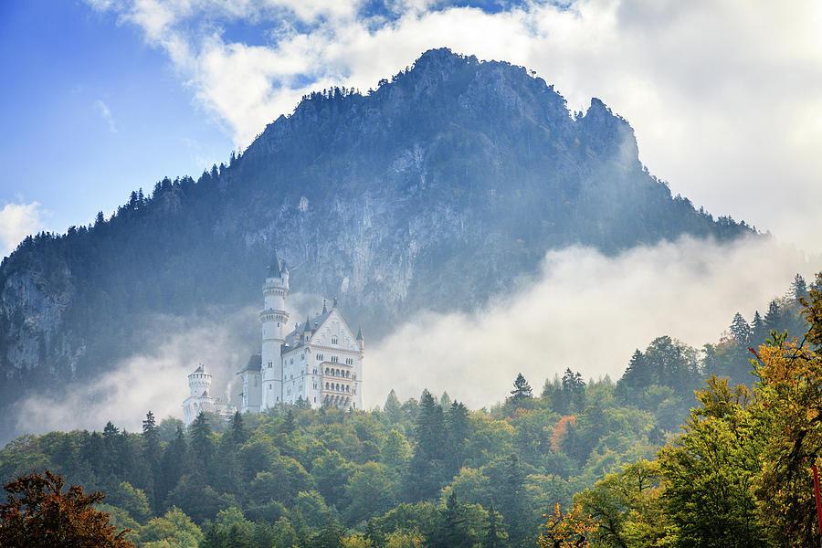 Neuschwanstein Castle In Morning Fog Photograph
