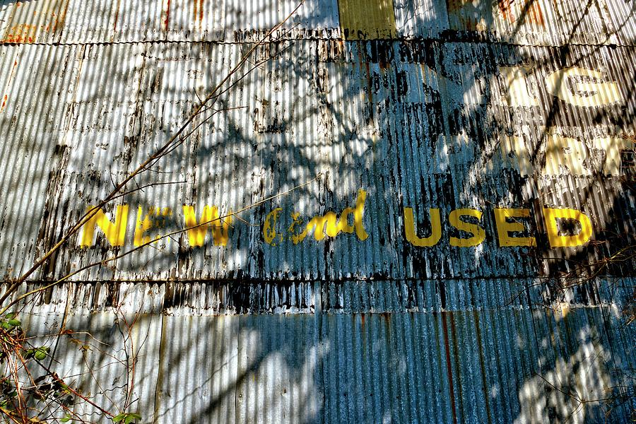 New And Used Galvanized Sided Shed Ghost Sign Photograph