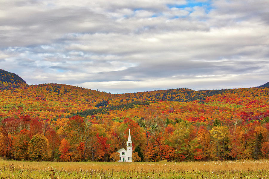 New Hampshire Fall Foliage framing the Wonalancet Union Church by Juergen Roth