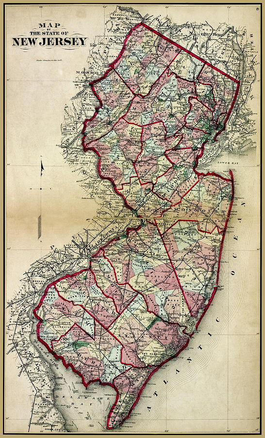 New Jersey Antique Map 1873 by Phil Cardamone