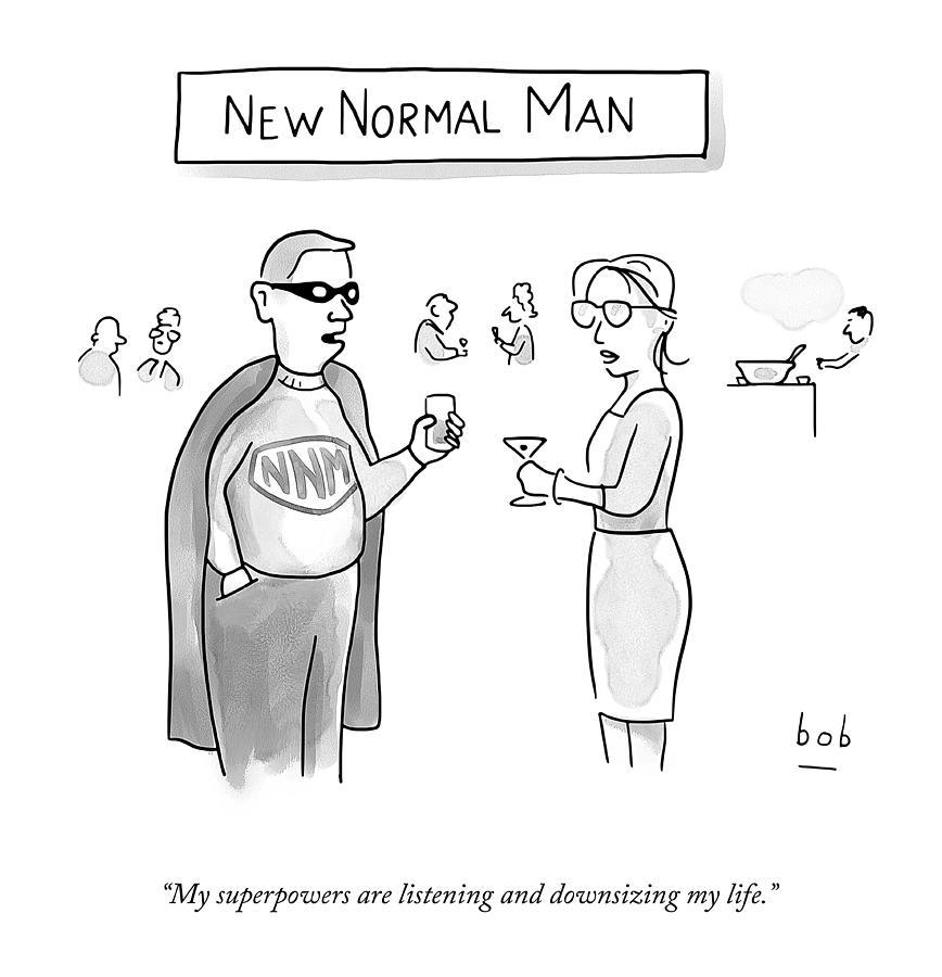 Socializing Drawing - New Normal Man by Bob Eckstein