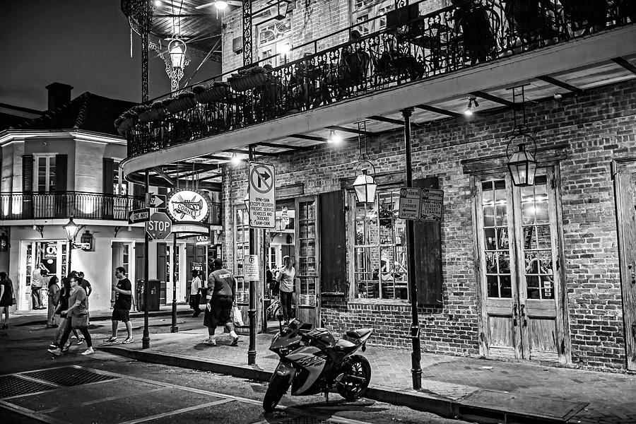 New Orleans Bourbon Street Nightlife Black and White by Toby McGuire