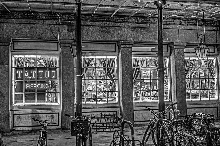 New Orleans Frenchmen Street Tattoo Parlor French Quarter Black and White by Toby McGuire