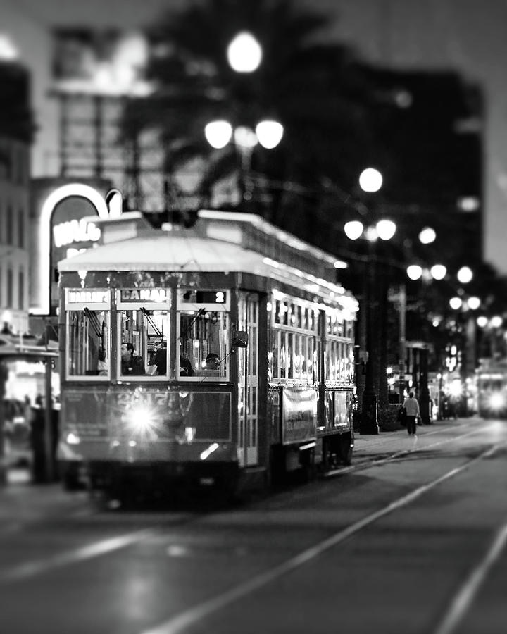 New Orleans Streetcar At Night Photograph