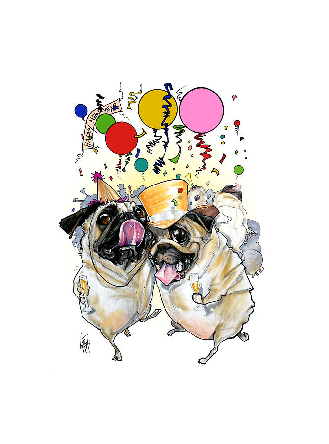 New Years Pugs Drawing