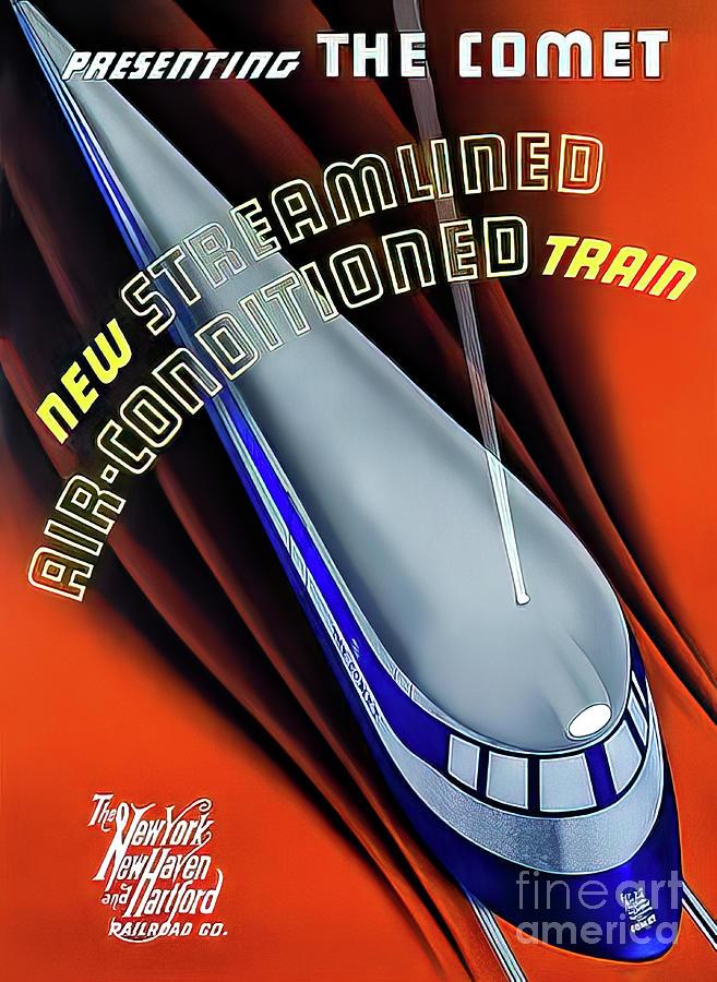 New York Boston 1935 Art Deco Train Poster Drawing