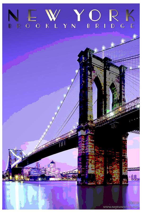 New York Digital Art - New York Brooklyn Bridge by Jason Neptune