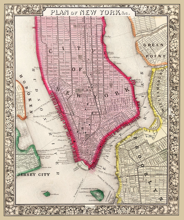 New York City  Map 1863 by Phil Cardamone