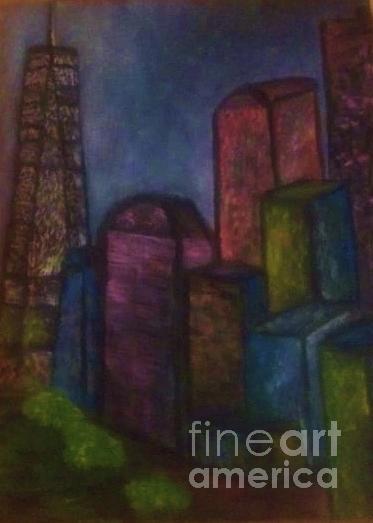 New York City At Night Painting