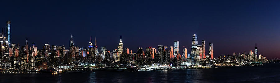New York City Skyline At Night Panorama Photograph By Zina Zinchik
