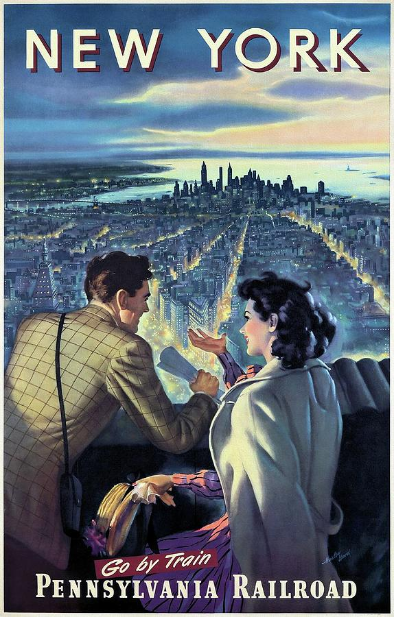 New York Usa Painting - New York Pennsylvania Railroad Modern Travel Poster by Harley Wood