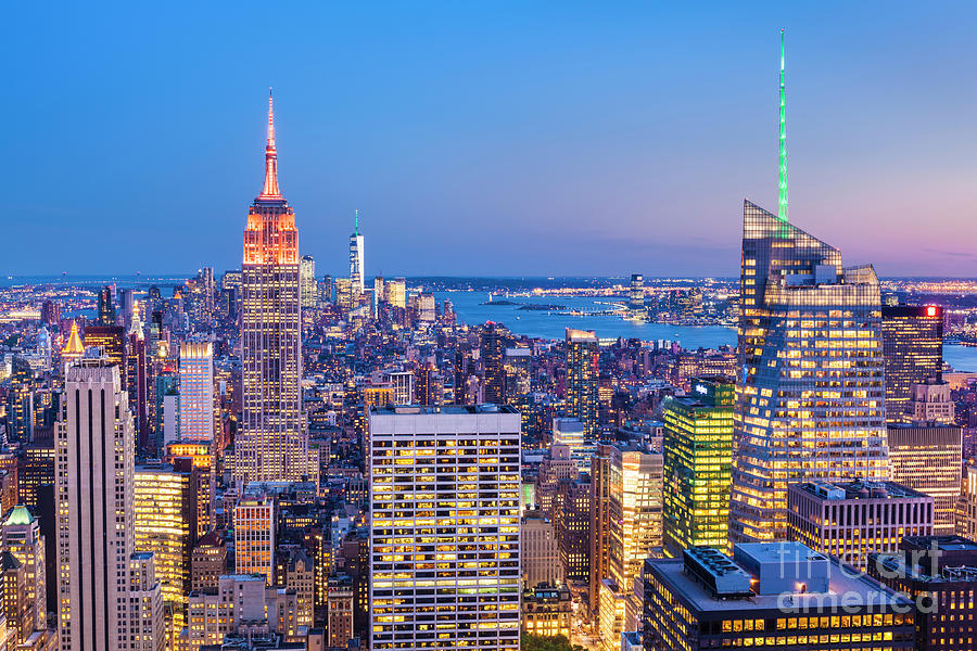 New York Skyline at Sunset by Neale And Judith Clark