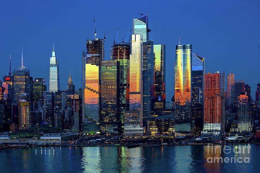 New York Skyline - Dusk Lights And Reflections Photograph
